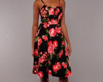 JULY SALE Vintage Sundress // Black Floral Summer Sun Dress // Smocked Sundress  // S M