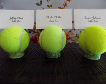 10 Tennis Ball Place Card Holders Menu Table # Holder Table Decor Favor Tennis Awards Event Wedding Birthday Tennis Lover Picture Holder