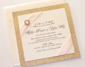 Glitter Wedding Invitation - Vintage Wedding Invitation - Elegant Wedding Invitation - Ivory Gold Blush Pink - Marilyn Sample