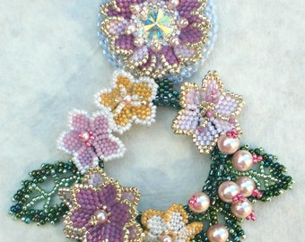 Crystal Statement Necklace  Pink Mauve Purple Green Flower   Jewelry Romantic Gift Wonderful world