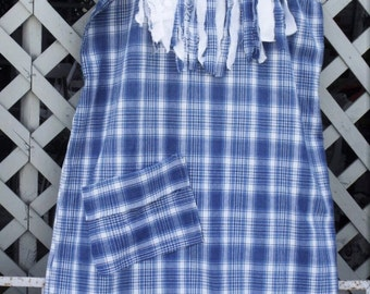 Plus Size Dress/ Plus Size Sundress/ Fringed Blue Sundress/ Plaid-Fringed Sundress/ Sheerfab Funwear/ Size 2-3X Sundress