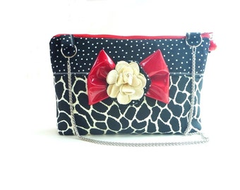 Rockabilly handbag, evening bag, rockabilly wedding, rockabilly pin up, boho clutch, cocktail clutch, animal print, shoulder bag