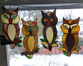 Owl Stained Glass  in Beautiful Browns
