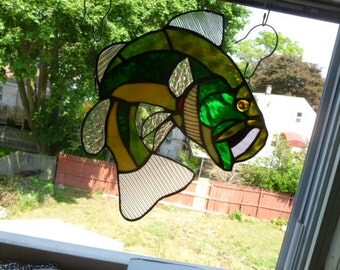 Large Mouth  Bass Suncatcher in greens Stained Glass  OOAK