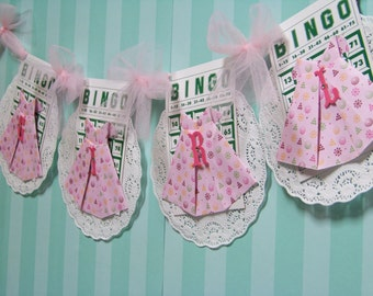Folded Paper Dress Baby Girl Vintage Bingo Card Garland Baby Girl Doily Pink Green Purple Gold Pink Netting Photo Prop Its A Girl