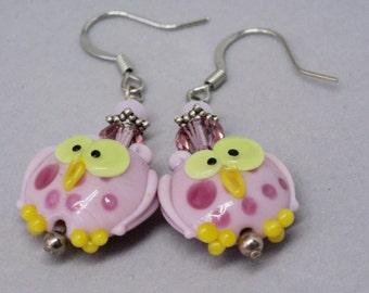 Owl earrings. Owl Lampwork, Cute Graduation Gift, Owl Jewelry, Pink  earrings, Fun Bird Earrings, Bird Earrings, Art Gift for Bird Lover