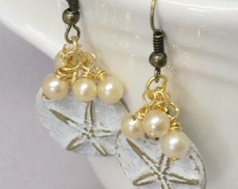 White Starfish Earrings,  Starfish Jewelry, Cream Pearl Earrings, Nautical Earrings, Beach Jewelry, Summer Earrings, Neutral Earrings, Gift
