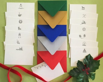 Holiday Letterpress Enclosure Cards with Envelopes - the perfect addition to the perfect gift!