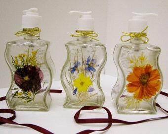 Pressed Flower Curvy Lotion Pump or Soap Dispenser
