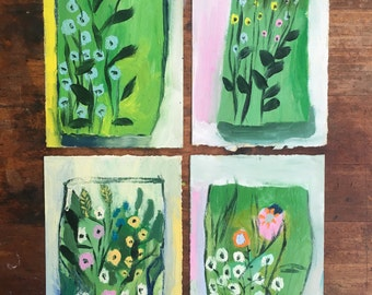 Four mini Spring Terrariums, Original oil painting on canson paper