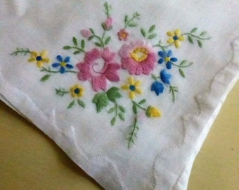 Vintage Mid Century  Handkerchief Embroidered with Flowers