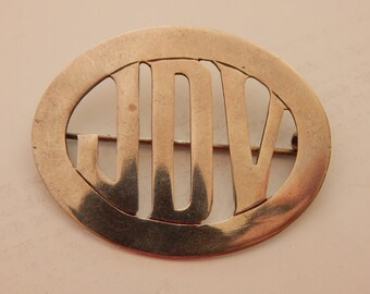 Oiginal Deco Initial Pin - Oval Frame - JDV