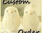 Custom Order Wedding Cake Topper - For therunningpenguin