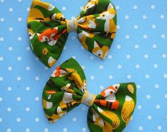 Fox Friends Hair Bow Clip Set of 2 (pair)