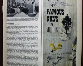 """Jewelry 123   """"Famous Guns by Swank Jewelry Sets""""  Ad   -  October 1958"""