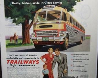 "Trav-B ... 111   "" Trailways Bus System ...""  Magazine Ad - June 1950"