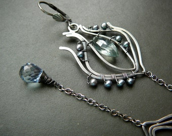 Peacock feather long earrings - sterling silver, mystig green quartz, mystic blue quartz and freshwater pearls