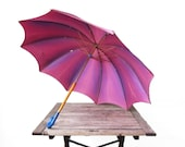 Vintage Purple Touch N Go Umbrella - 1950s Bright Ombre Parasol - Mid Century One Handed Opening and Closing Umbrella - Steampunk