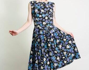 ON SALE Black & Blue Dress 1960s Floral Frock