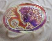 Vintage Style Button - 1 beautiful extra large oval, Czech pressed glass, Cameo design, iridecsent clear (lot c 126)