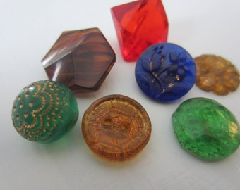 Vintage Buttons - lot of small to medium assorted colors Depression glass, novelty cut glass, lot of 7 (aug 53b)