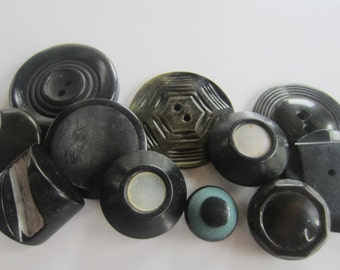 Vintage Buttons -10 assorted novelty black buttons, celluloid (oct 124)