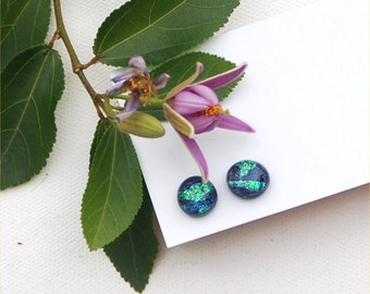 211 Fused dichroic glass earrings, round ish, sparkle, blue, green, purple