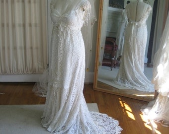 Crochet Vintage Lace Wedding Gown and Sash Handmade One of a kInd