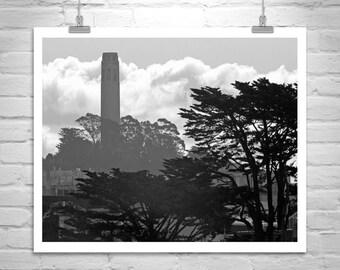 Coit Tower, San Francisco Photography, Silhouette Art, Black and White, California Art, Architecture Art, Murray Bolesta, Fine Art Print
