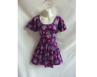 Vintage 60s Dress Size S Purple Floral Mod Mini Hippie 70s Disco Lolita Frock
