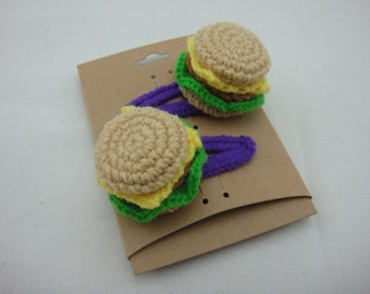 FREE SHIPPING Crochet Snap Clip Hair Accessories - Fast Food Burger