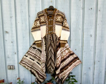 Nordic Norwegian Brown Reconstructed Bohemian Sweater Coat// Wool Cotton// Medium Large// Altered Clothing// emmevielle