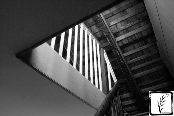 B&W Photograph, home decor, wall art, photo print, fine art, stairs, railing, Walt Whitman, poetry, haiku, Long Island, New York, stairway