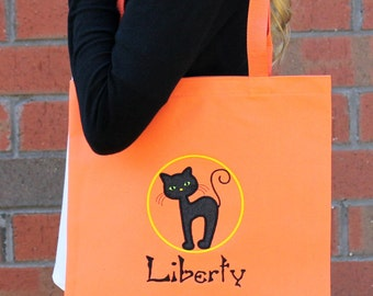 Personalized Black Cat Halloween Trick or Treat Bag