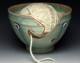 Green Button Ceramic Yarn Bowl, Ceramic Knitting Bowl