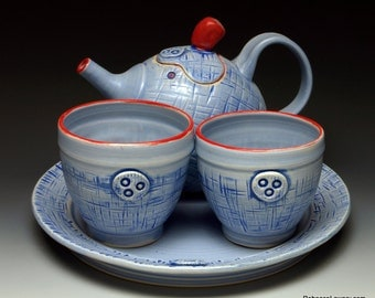 Hand thrown Tea Set, Blue Denim teapot with 2 teabowls and serving plate