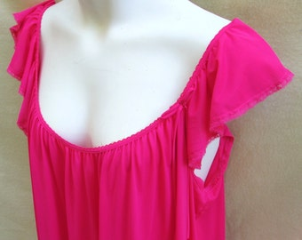 Miss Elaine hot pink nylon nightgown XL