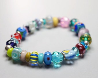 Colors Of Rainbow // Hand Blown Glass // Rainbow Colors // Stretch Bracelet