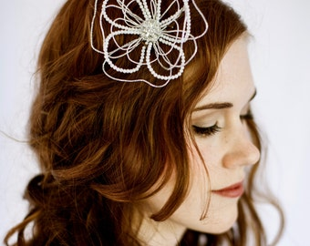 Abstract Flower Bridal Hair Clip by bethany lorelle
