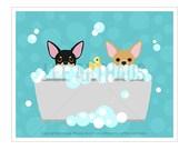 158D Bathroom Print - Two Chihuahuas in Bubble Bath Wall Art - Bath Prints - Bathroom Wall Art - Chihuahua Art - Chihuahua Art Print