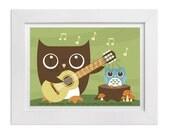 237 Owl Nursery Print - Owl Playing Guitar to Boy Owl Wall Art - Owl Print - Baby Boy Woodland Nursery Decor - Guitar Print - Guitar Art