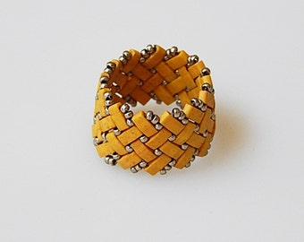 Basket Weave (Yellow Mustered) Ring