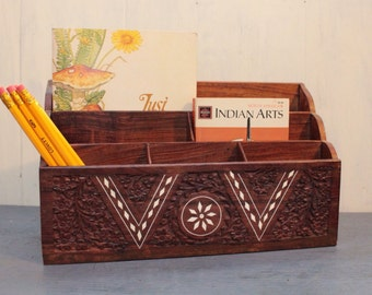 wood desk caddy - carved teak wood office organizer
