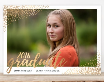 Graduation Announcement, College Graduation Announcement, High School Graduation, Senior Graduation Announcement - sprinkled gold dots