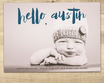 baby birth announcement / photo birth announcement / baby boy birth announcement / girl birth announcement /  PRINTABLE birth announcement