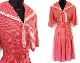 Vintage 50s 60s Red and White Plaid Day Dress S