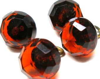 """4 Antique GLASS buttons, Victorian cranberry ball glass buttons. 9/16""""."""