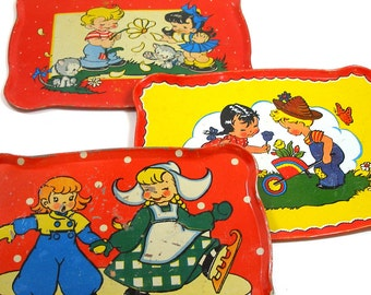 50's Tin Toy Tea Trays in Red, Blue, Yellow by Ohio Art, Instant collection. Kids & pets.