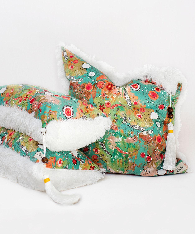Colorful Bohemian Throw Pillows : Set of 3 colorful boho feather art throw pillows shag pillows