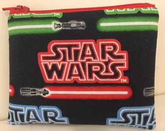 Star Wars Coin Purse - Red Lightsaber Cotton Change Purse - Darth Vader - Small Zipper Pouch